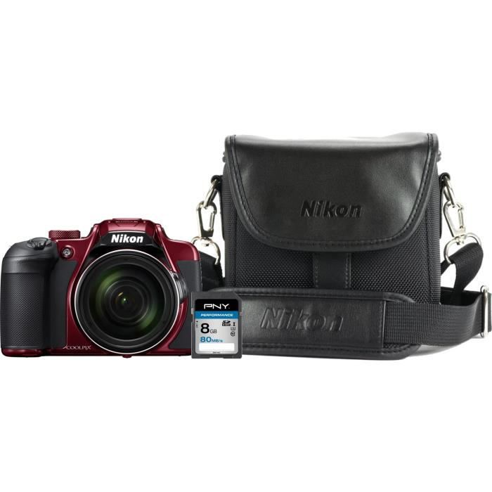 Bundle Nikon B700 Rouge + Sac photo + Carte mémoire 8 Go