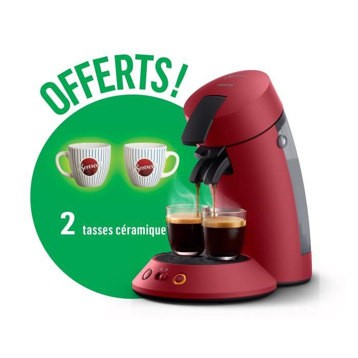 PHILIPS CSA210/91 SENSEO Original Machine à café dosette Rouge + 2 tasses