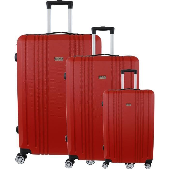 CITY BAG Set de 3 Valises 48/60/70 cm Rouge Mixte
