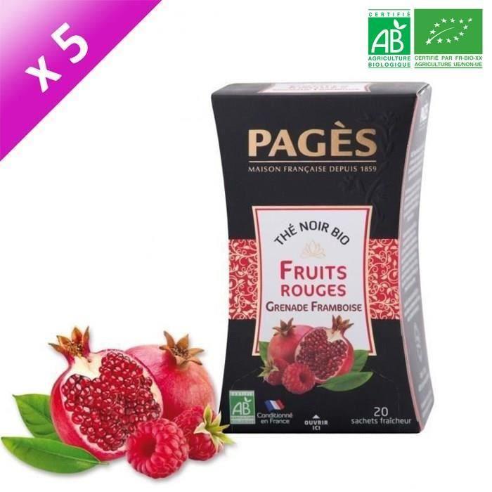 [LOT DE 5] PAGES Thé Noir Fruits Rouges, Grenade, Framboise - Bio