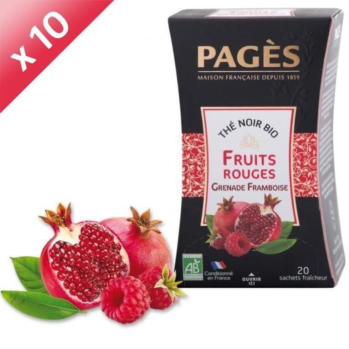 PAGES Lot de 10 Thés Noir Fruits Rouges Bio