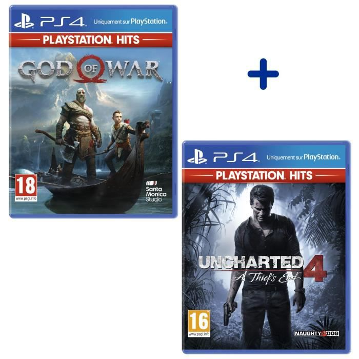 Pack 2 Jeux PS4 PlayStation Hits : God of War + Uncharted 4: A Thief's End
