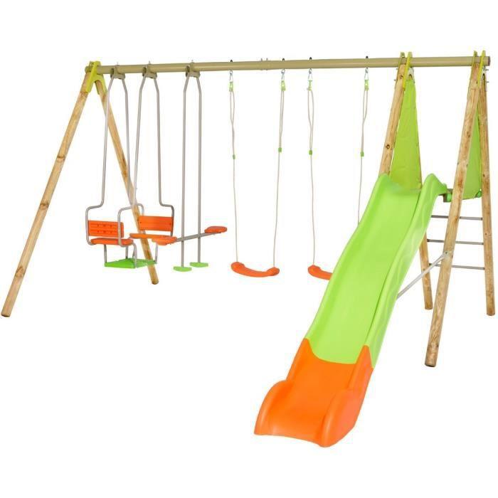 Portique bois et métal - 2,30m - 2 balançoires, 1 face à face, 1 nacelle et 1 toboggan 2,63m - KAHUNA TRIGANO