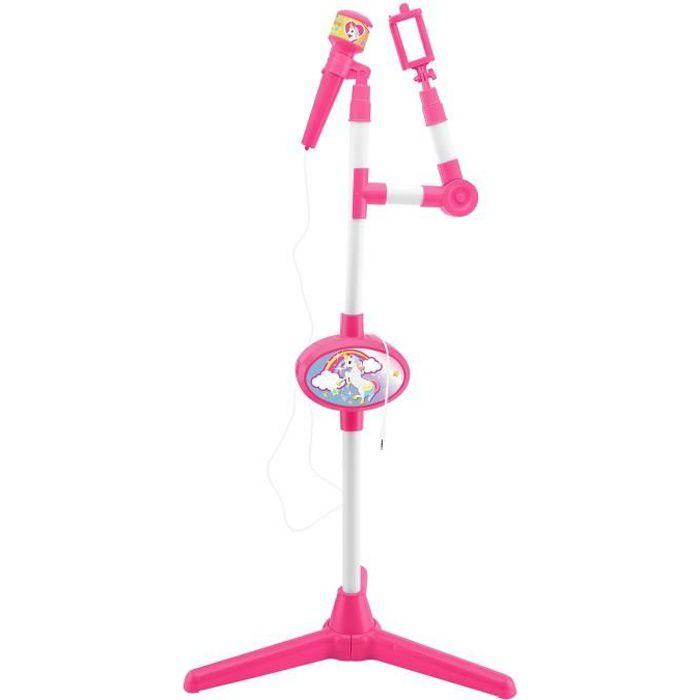 Microphone Licorne avec Pied Lumineux et Haut-Parleur