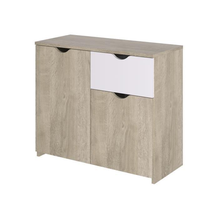 Buffet 2 portes 1 tiroir - Décor chêne et blanc - L 90 x P 40 x H 75 cm - AUSTIN