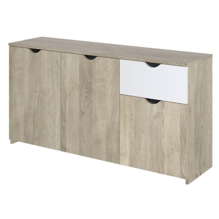 Buffet 3 portes 1 tiroir - Décor chêne et blanc - L 150 x P 40 x H 75 cm - AUSTIN