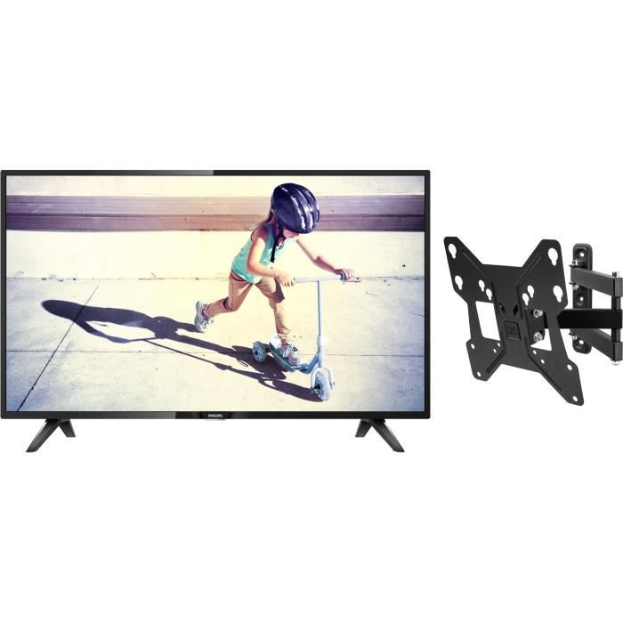Pack philips 32pht4112 tv led hd 80 cm one for all wm2251 support mural avec réglage dinclinaison et de rotation