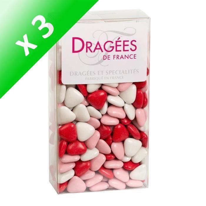 DRAGEES DE FRANCE Petits Cœurs Chocolat 70% Cacao - Couleurs : blanc, rose et rouge - Etui 250 g (Lot de 3)