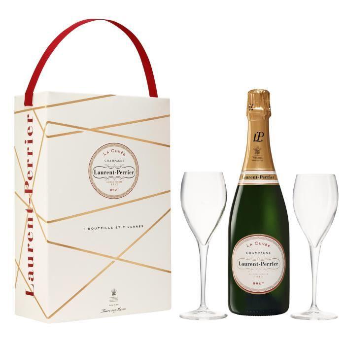 Champagne Laurent-Perrier La Cuvée - 1 bouteille x 75 cl + 2 flûtes