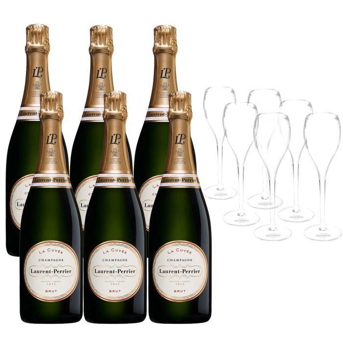 Champagne Laurent-Perrier La Cuvée - 6 bouteilles x 75 cl + 6 flûtes