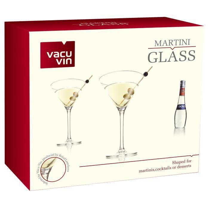 Lot de 2 Verres Cocktail 26 cl Vacu Vin -Martini-