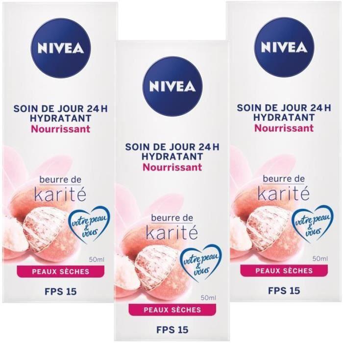 [Lot de 3] NIVEA Soin de Jour 24h Hydratant Nourrissant Beurre de Karité - 50 ml