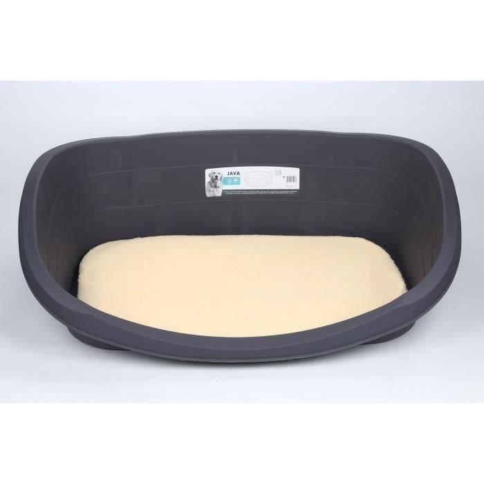 M-PETS Pack lit JAVA Dog Bed - 120 x 83 x 36 cm - Gris + Coussin - 99 x 60 x 3 cm - Beige - Taille XXL - Pour chien