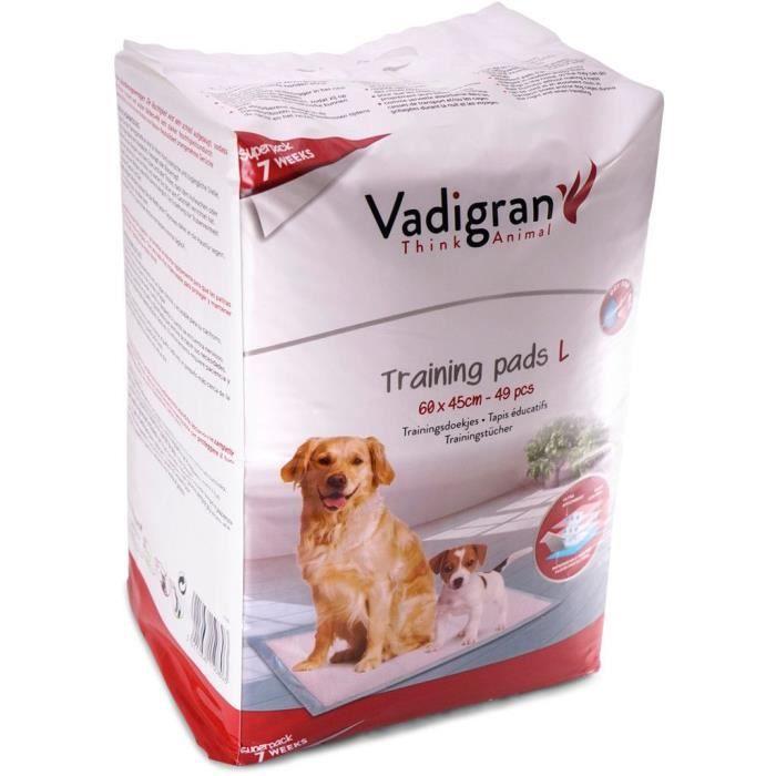 VADIGRAN Tapis éducateurs 49pcs - 60x45 cm - Blanc - Pour chien
