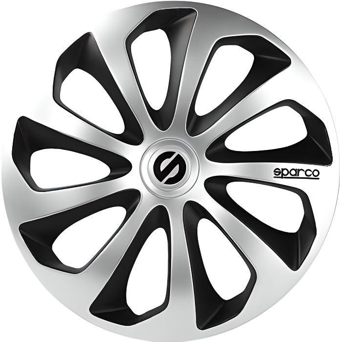 SPARCO 4 Enjoliveurs de roues - Sicilia - SPC1673SVBK - 16- - Gris/Noir