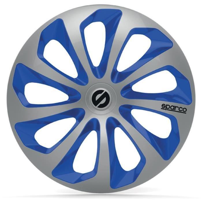 SPARCO 4 Enjoliveurs 16 Pouces Sicilia Argent et Bleu