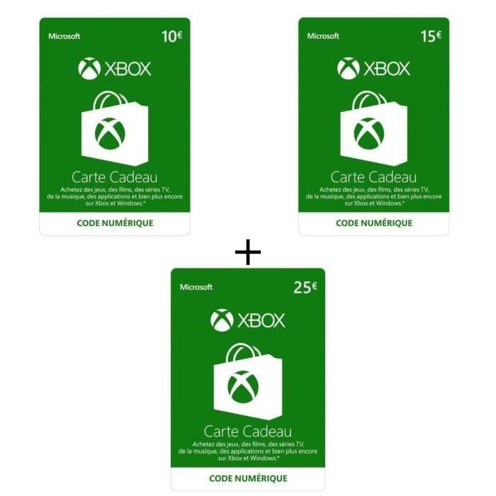 Code Numérique Xbox Live 10€ + Code Numérique Xbox Live 15€ + Code Numérique Xbox Live 25€ - Codes de Téléchargement pour Xbox One