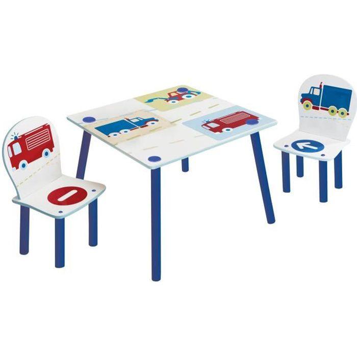 VEHICULES Ensemble table et 2 chaises pour enfants