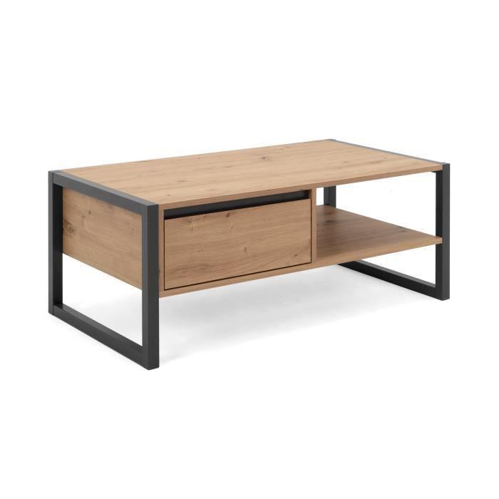 DENVER Table basse 1 tiroir - Style industriel - Métal - Décor Chêne artisan / Anthracite - L 100 x P 55 x H 40 cm