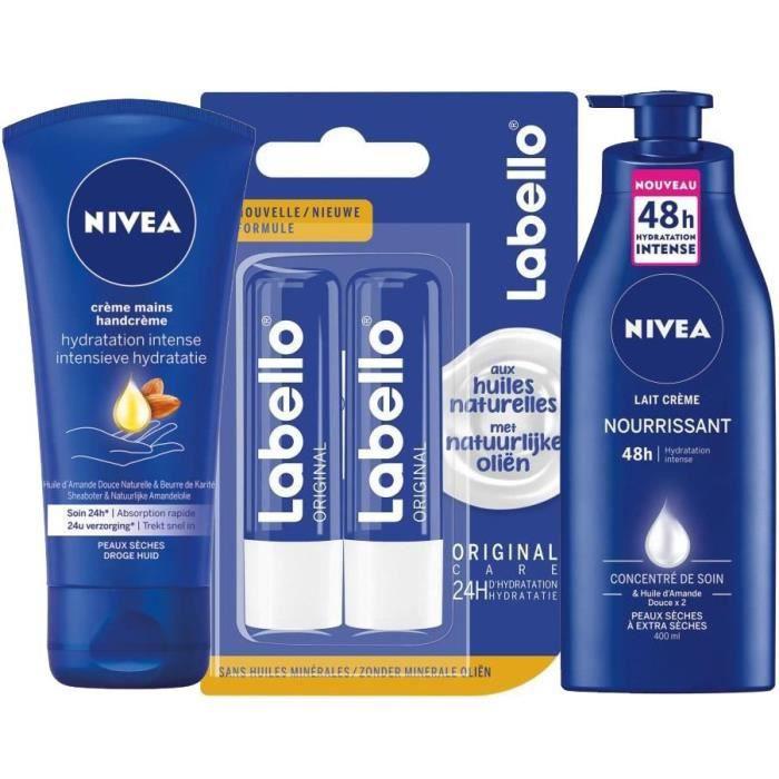 NIVEA Kit complet Hydratant - Labello x2, Créme mains nourissantes et Lait ultra nourissant
