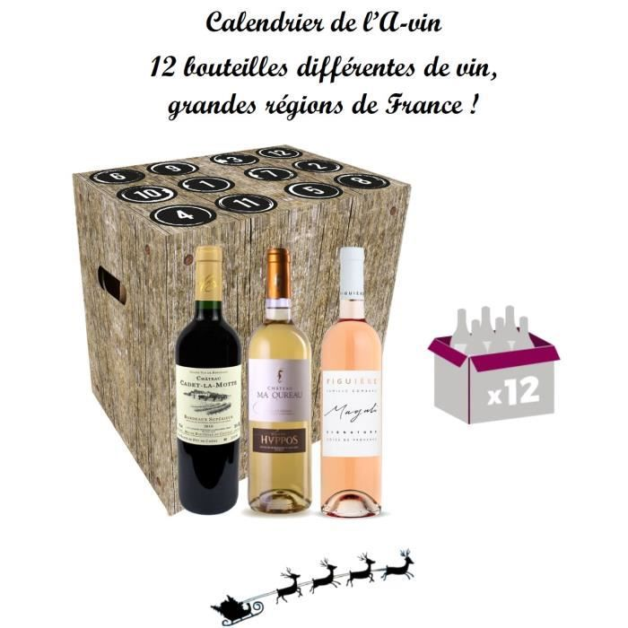 Calendrier de l'Avin avent coffret unique de 12 bouteilles de Vin 12x75cl