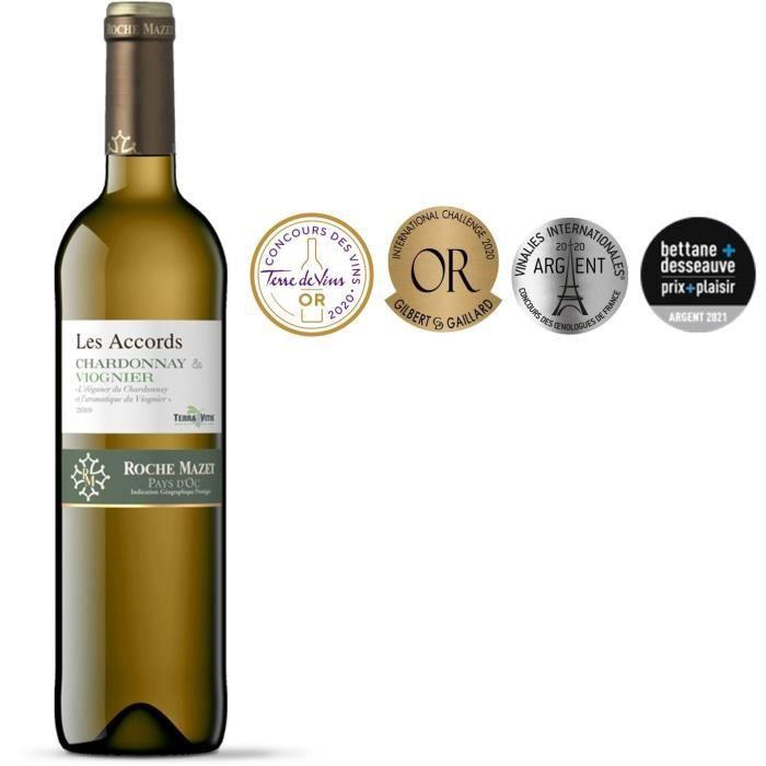 Les Accords de Roche Mazet Chardonnay & Viognier 2019 Pays d'Oc - Vin blanc de Languedoc