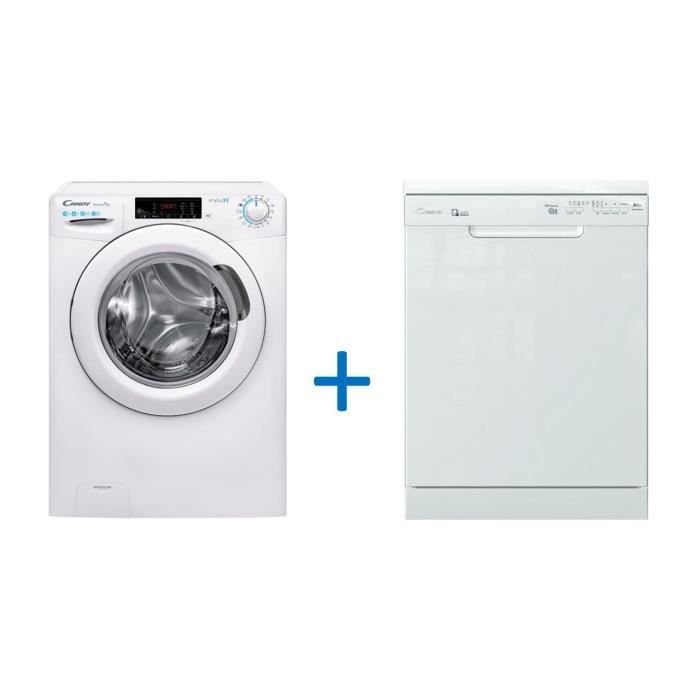 Pack CANDY CO12105T3/1-S - Lave Linge Frontal - 10 Kg + CANDY CDPN2L350SW - Lave Vaisselle Posable - 13 Couverts