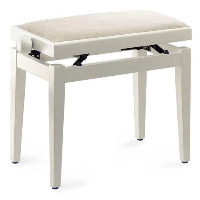 STAGG Banquette Piano Pelote Velours Blanc