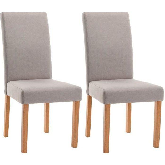 ELYNA Lot de 2 chaises de salle à manger - Pied bois naturel - Tissu lin - L 47 x P 60 x H 100 cm