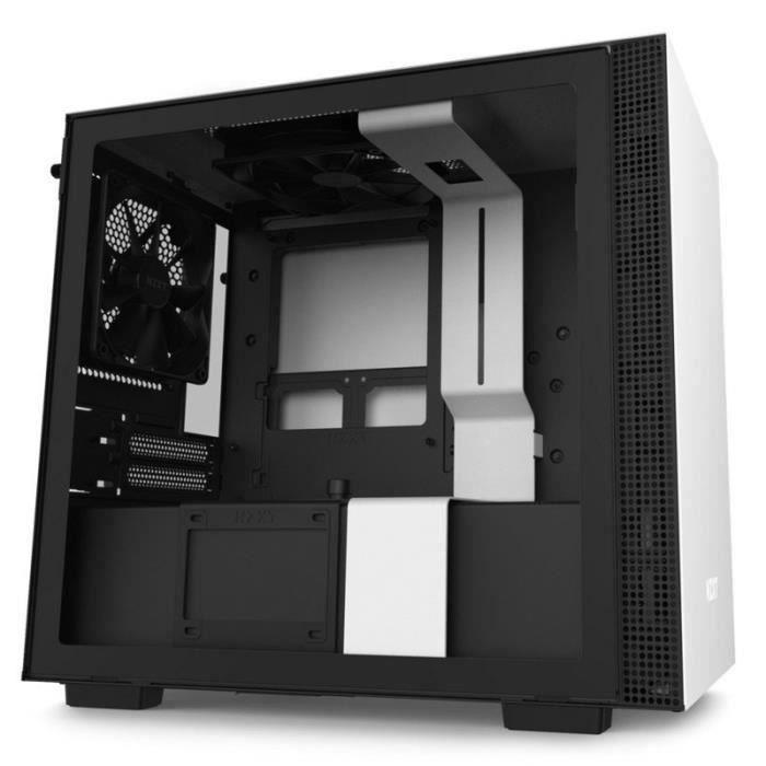 NZXT BOITIER PC H210 - Mini Tour - rétroéclairage RGB - Blanc mat - Verre trempé - Format Mini ITX (CA-H210B-W1)