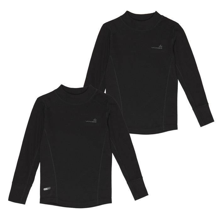 1ER PRIX Sous vêtement Prima Warm SML X 2 - Enfant garçon - Noir