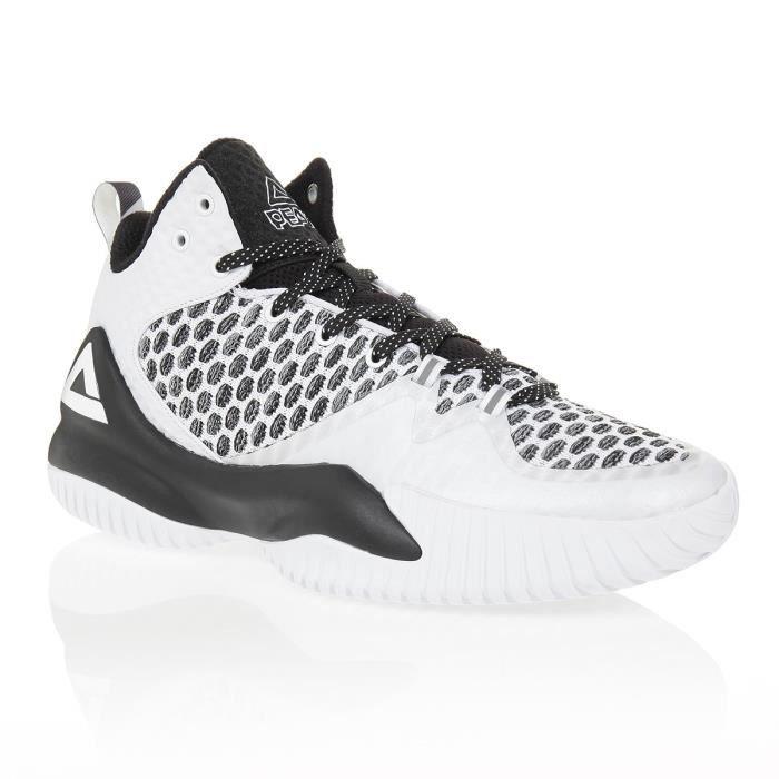 PEAK Chaussures de basketball Lou Williams - Homme - Blanc et noir