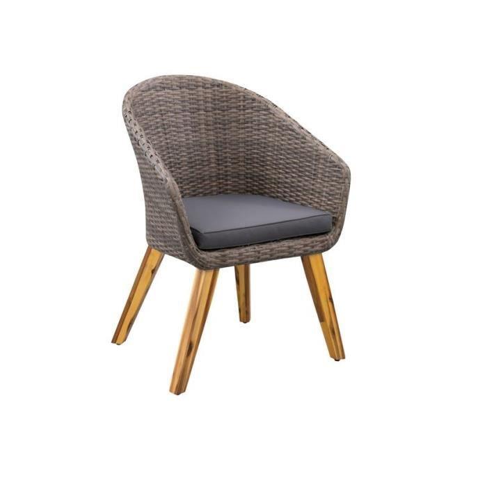 Lot de 2 fauteuils de jardin - 60 x 67 x H.85 cm - Acacia FSC & résine tressée - Couleur de la resine: rotin naturel & Couleur des