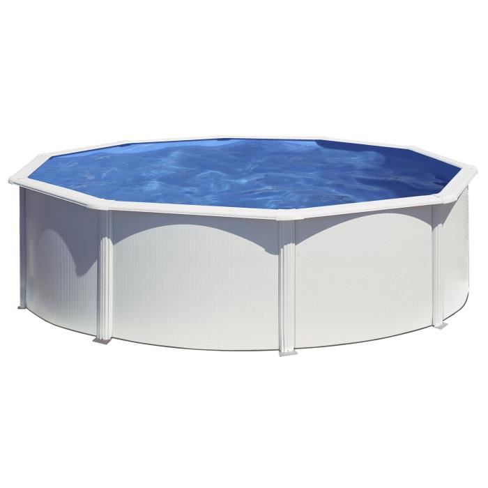 GRE Kit piscine hors-sol ronde en acier Wet Ø4,60x1,20 m - Liner bleu