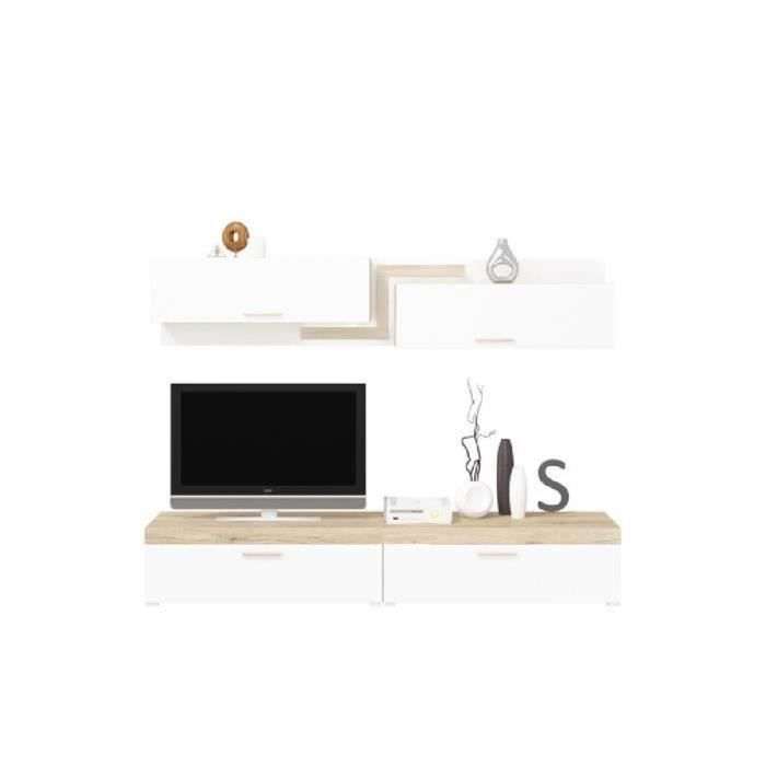 Three meuble tv led contemporain mélaminé blanc et décor san remo sable l 276 cm