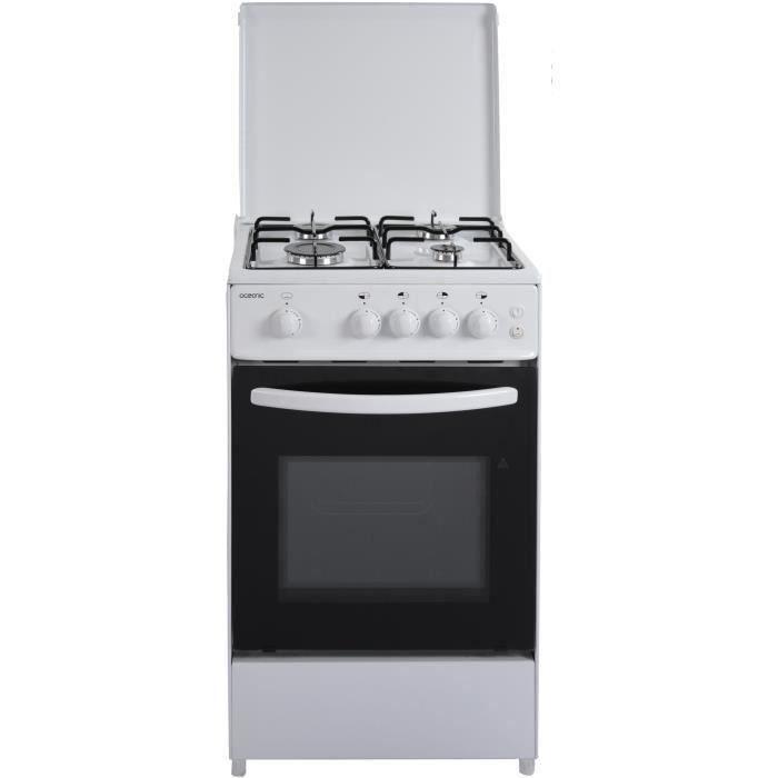 OCEANIC - 105WV2 - Cuisinière gaz - Blanc - 50x50 - Eclairage - Grill électrique
