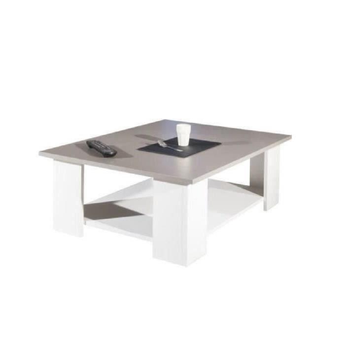 LIME Table basse style contemporain blanc et taupe - L 89 x l 67 cm