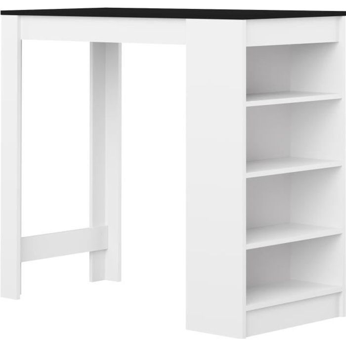 CURRY Table bar de 4 à 6 personnes style contemporain blanc et noir mat - L 115 x l 50 cm