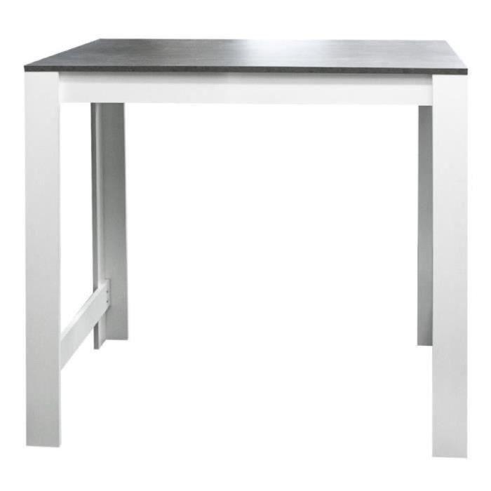 CURRY Table bar de 2 à 4 personnes style contemporain blanc mat et effet béton - L 110 x l 70 cm