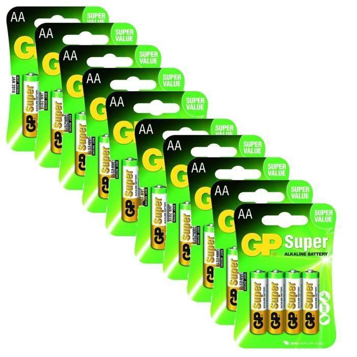 Lot de 10 - GP Batterie 40 Piles Alcalines 10x4 LR06/AA 1.5V
