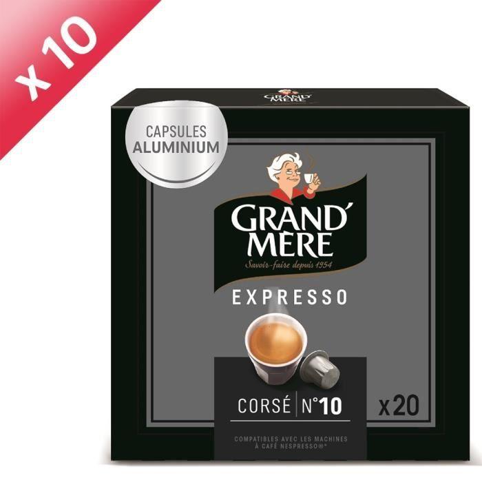 Lot de 10 - Café Capsules Grand Mere Expresso Corsé x20, en aluminium compatibles avec le système Nespresso-104g