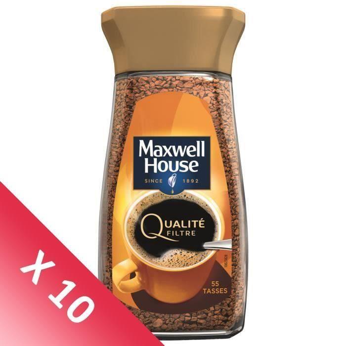 MAXWELL HOUSE Café Soluble Qualité Filtre Bocal - Lot de 10 x 100 g