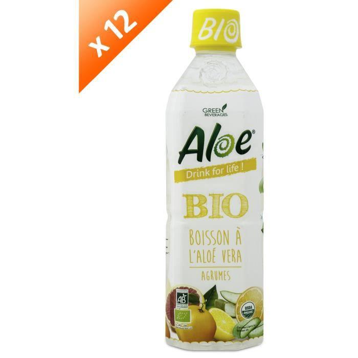 ALOE DRINK FOR LIFE Lot de 12 Agrumes Bio Pet 500 ml