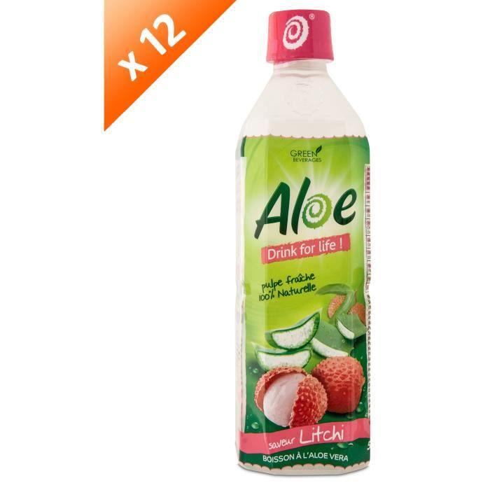 ALOE DRINK FOR LIFE Lot de 12 Litchi Pet 500 ml