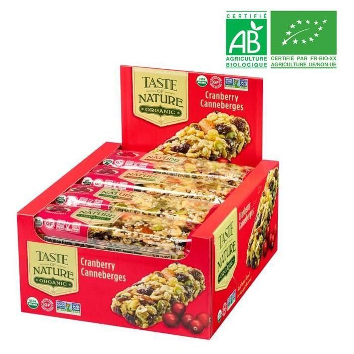 [LOT DE 16] TASTE OF NATURE Barre Cranberry Bio 40 g