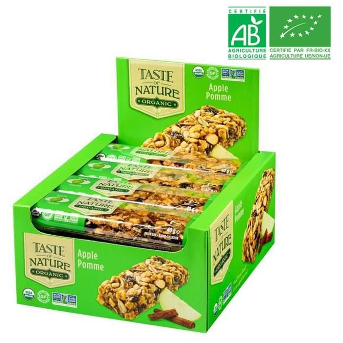 [LOT DE 16] TASTE OF NATURE Barre Pomme Bio 40 g