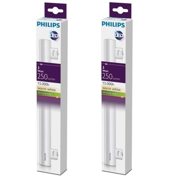 PHILIPS Lot de 2 tubes LED Philinea S14S 3 W équivalent à 35 W 300 mm
