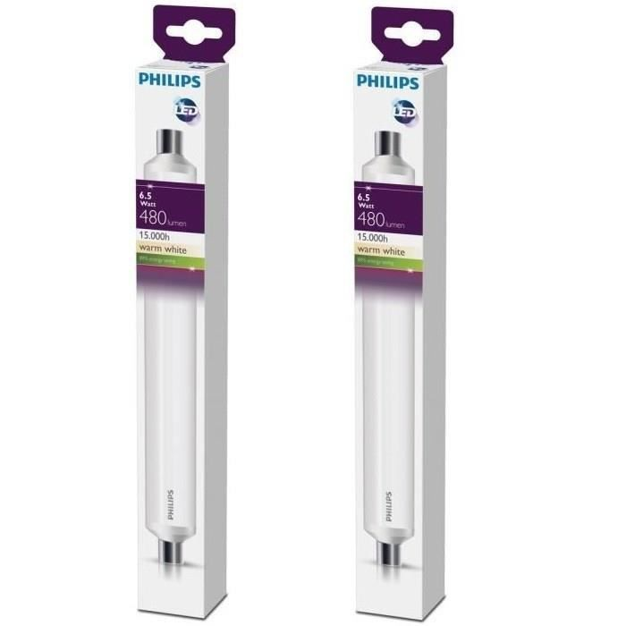 PHILIPS Lot de 2 tubes LED Linolite S19 6,5 W équivalent à 60 W
