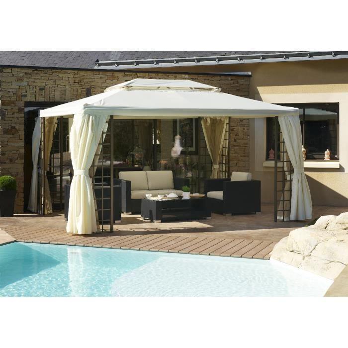 DCB GARDEN Tonnelle Roma avec 4 rideaux en aluminium et polyester 4x3 m - Ecru