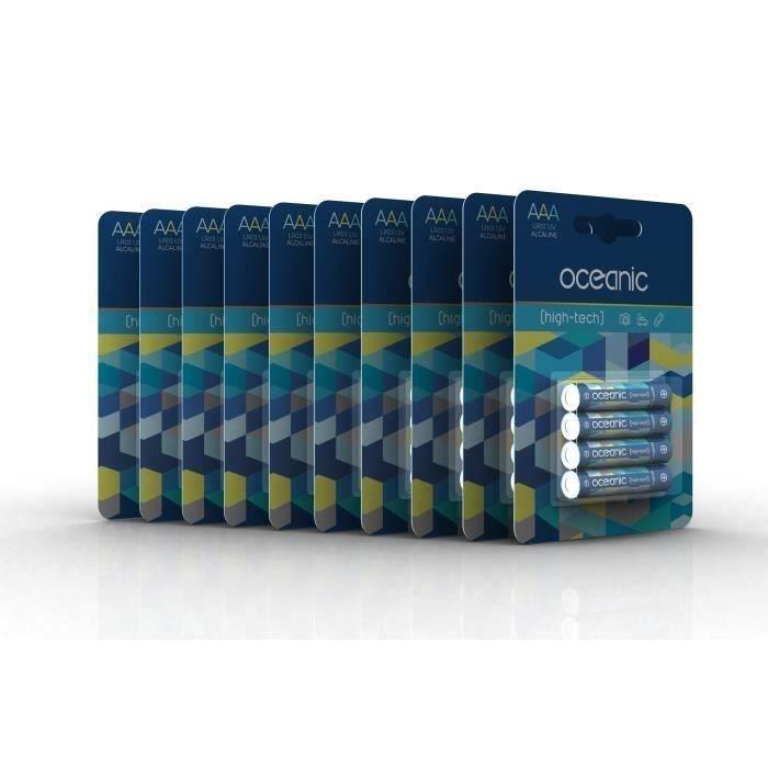 40 Piles Oceanic 10 packs de 4 piles Alcalines LR03/AA 1.5V High-Tech